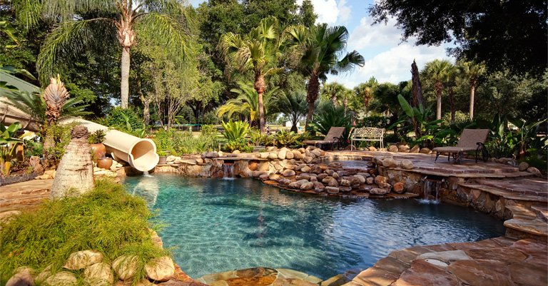 Vacation Home Rentals in Orlando - The Ever After Estate's lagoon pool - rent this vacation home!