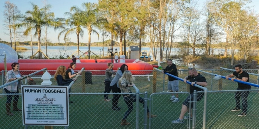 Play human foosball at The Great Escape Lakeside - a vacation home rental near Orlando, Florida