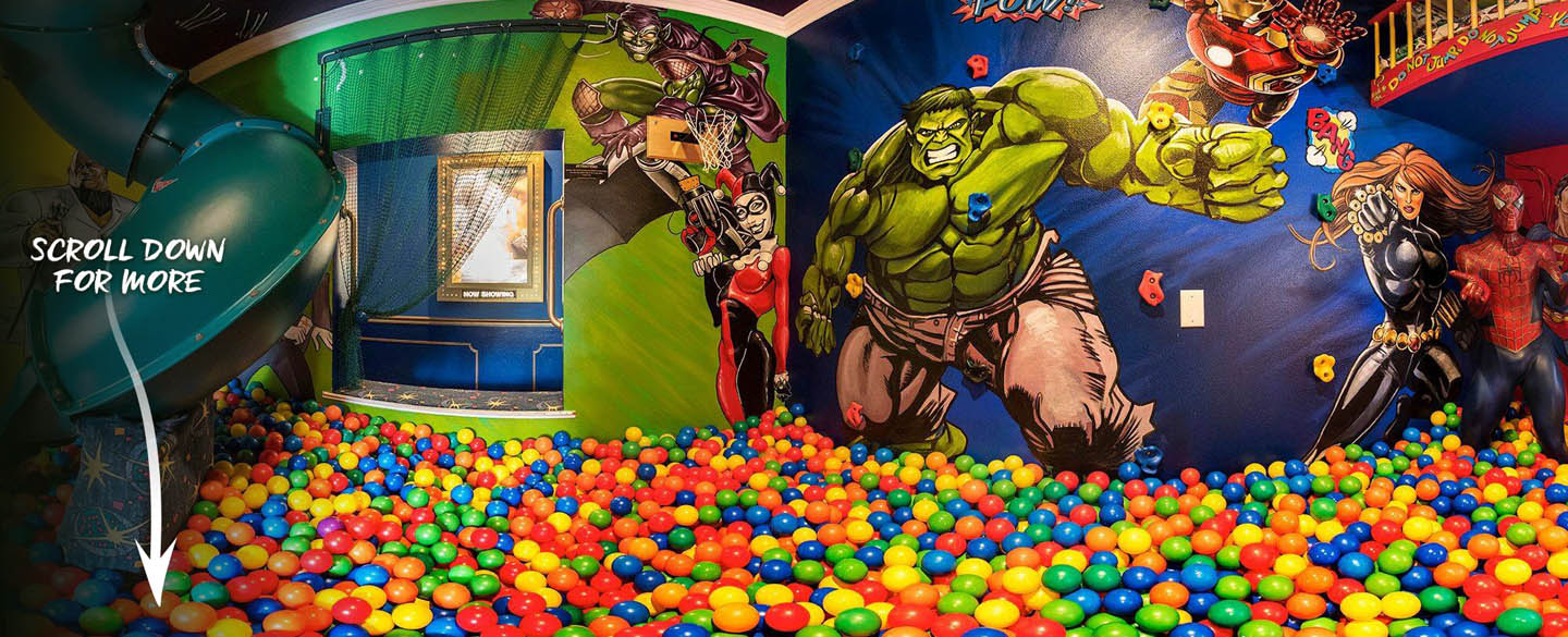 The Marvel vs. DC Superhero ballpit room at The Ever After Estate vacation home rental near Disney World and Orlando