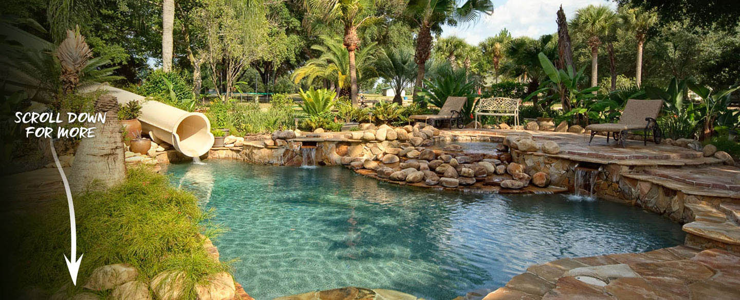 The lagoon pool at The Ever After Estate private island vacation home rental near Disney World and Orlando