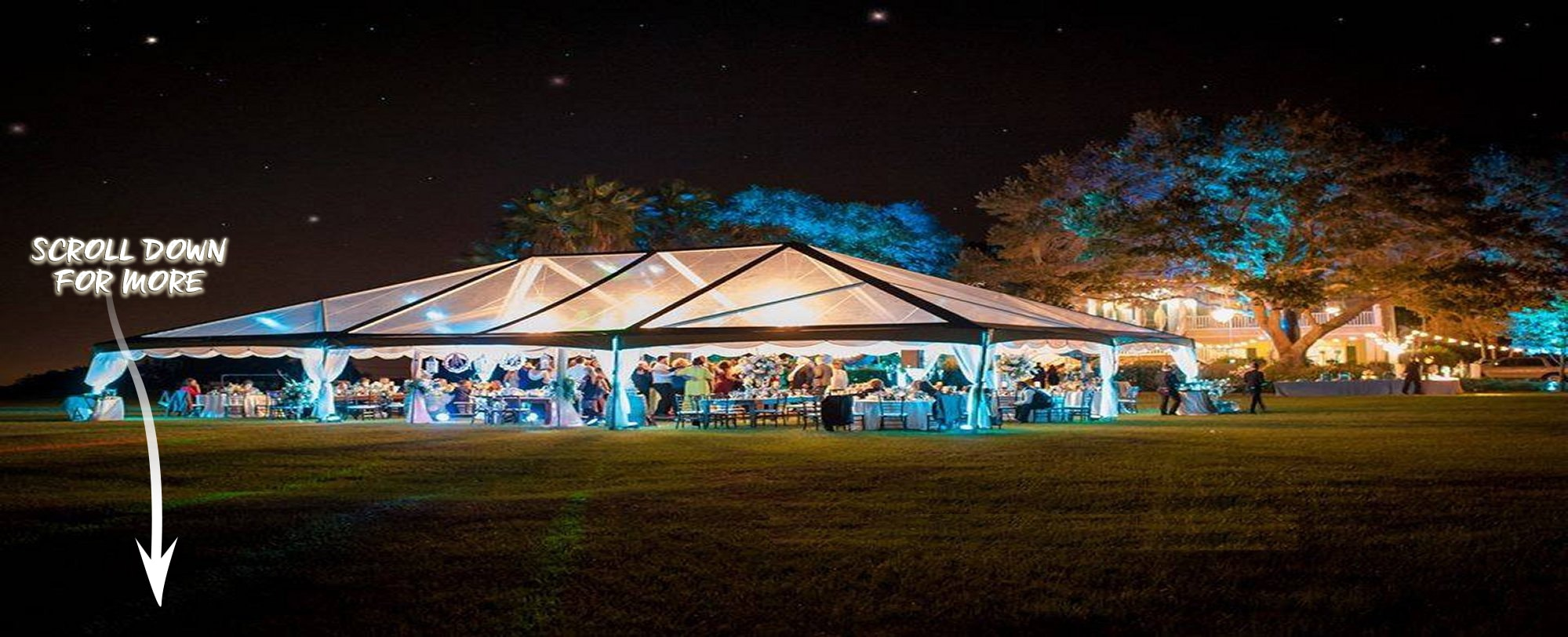When you have your wedding at one of our homes, we provide referrals for tents, tables, chairs, catering, and more